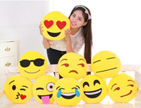 Wholesale 60PCS HHA161 New Hot Emoji Bolster Cute Smile Emotion Round Cushion Pillow Stuffed Plush Soft Toy