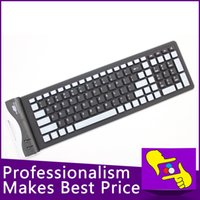 Al por mayor-EW-107B 107 llaves plegables impermeable con cable flexible de silicona suave Mini teclado USB