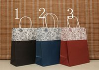 Cheap Free shipping 27*21*11CM European-style decorative pattern paper bag with handle 40pcs lot