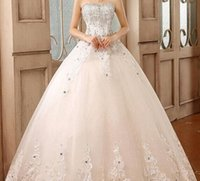 Wholesale 2015Hot Selling Ball Gown Strapless Applique Crystal Wedding Dress