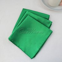 dinner napkin - 10pcs Teal Blue Square quot Satin Dinner Napkins or Handkerchiefs Wedding New Table Serviettes NPK