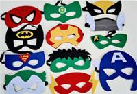 Wholesale 2015 New creative cartoon Superhero felt mask Fashion felt goggles Felt toy Christmas Wedding party masks