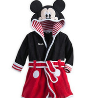 Wholesale 20pcs Long Sleeve Cartoon Model Baby Boys Girls Cartoon Mickey Mouse Tigger Flower Printed Home Night robe Winter Kids Pajama Bathrobe L1289