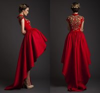 Wholesale 2015 Krikor Jabotian Spring New Red Wedding Dresses Simple Hi lo Ball Gowns With Beads Appliques Sweep Train Back Bridal Gowns Garden WZ