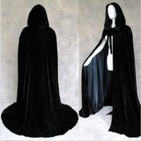 black hooded cloak - Black Halloween Hooded Cape MEDIEVAL Wedding Cloak Coat Shawl