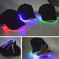 Wholesale 30PCS HHA599 LED Light Hat Party Hats Boys and Grils Cap Blow Club Baseball Hip Hop Caps Fashion Luminous Black Travel Hat Cap