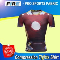 animal sports wear - Marvel Super Heroes men summer style Iron Man quick dry short sleeve T shirt compression wear fitness breathable tights sport Hiking shirts