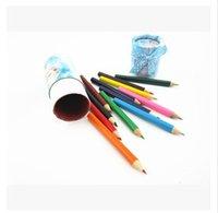 Wholesale Frozen Elsa Colored Pencils Colors Kids Pencils Brush Pot and Children Drawing Pencil Short Size As Christmas Gifts