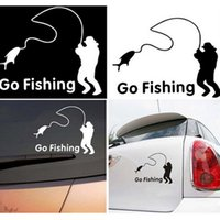 Wholesale Fashiion White Black Color Go Fishing word and pattern D Car Sticker Decals Car Accessories Waterproof