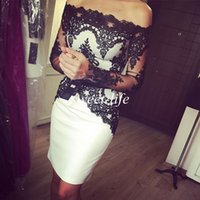 dressing and bandages - 2016 Sexy White and Black Cocktail Dresses Sheath Off the Shoulder Long Sleeves Satin Party Queen Gowns Cheap Short Prom Homecoming Dresses