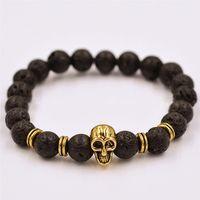 Charm Bracelets lava rock - 2015 Original handmade jewelry bracelet mm Natural lava Energy lava rock bracelet skull beads charm Infinite bracelets best gifs