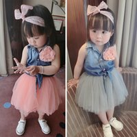 jeans lot - New Arrival Summer Baby Girl Set Childrens Girls Jeans Top Skirt Suit Kids Childrens Corsage High Quality Outfits Sets
