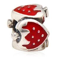 enamel paint - 925 Sterling Silver Bead Europe Enamel Paint Red Strawberry Charm Bracelet In Fit Pandora Best Gift