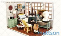 Wholesale Mettson Artist Bedroom Suite Dollhouse DIY Doll dollhouse with Lights Inspires Imagination Also Age