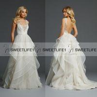 alvina valenta gowns - Alvina Valenta Backless Wedding Dresses V Neck Ruffled A Line Wedding Gown Applique Beads Sweep Train Tulle Beach Bridal Gowns Custom
