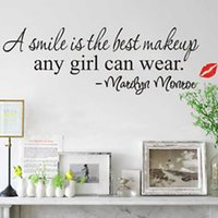 best ws - New Design A Smile Is The Best Makeup Any Girl Can Wear Quote Wall Sticker Art Mural Decals Decor Home Decoration HG WS