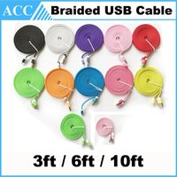 Wholesale 1M M M ft ft ft Lengthed Flat Noodle Braided USB Data Cable Woven Charging Core Charger Line Wire For Samsung HTC