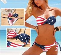 bathing suits usa - 2015 Newest Summer Lady Push up Padded USA Bikinis BOHO American Flag Fringe Tassel Bandage Bathing Suits Swimwear