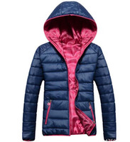 Wholesale 2014 Fashion Hot sale Newest Design women Double Side Down Jacket coat women s Winter Hooded sports outerwear jacket