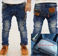Wholesale new spring autumn childrens cowboy pants and winter baby boys thick jeans kids trousers retail