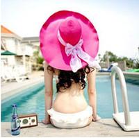 Wholesale Straw Hat Female Summer Sun Helmet Visor Korean Beach Resort Hat Can Be Folded High Eaves Hats For Women PMY001