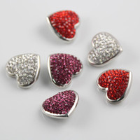 Wholesale Hot Crystal Round Heart Snaps Jewelry Silver Color mm Multicolor Mixed Metal Ginger Snap Buttons For noosa Button Jewellery