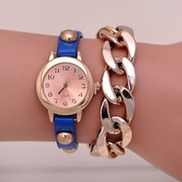 auto synthetics - TGJW724 New charm Women watch Gold Plated Multicolor Wristwatch Quartz Synthetic PU Leather bracelet Watches