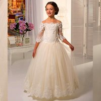 Wholesale 2016 Best Selling Lace Applique Off Shoulder White or Ivory Flower Girl Dress Floor Length Long Sleeve Cute Girl Flower Gowns Chic Organza