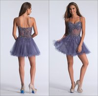Cheap Charming New Spaghetti Straps Short Cocktail Party Dresses Beaded Tulle Boned Sheer Panels Knee Length A-line Zipper Homecoming Dress Gowns