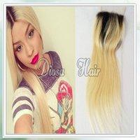 Livraison gratuite Brésilienne Deux tons # 1b # 613 Ombre Free Lace Closur cheveux humains non transformés 4 * 4 pouces Lace Closure blanchi noeuds droit