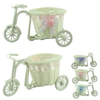 Wholesale Flower Basket Vase Handmade Rattan Baskets Tricycle Bicycle Home Decor Garden Wedding Party Decoration