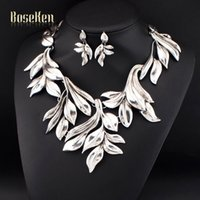 Wholesale Punk Style Exaggeration Handmade Fashion Women Jewelry Accessories Plant Shape Necklaces Matching Earring Sets