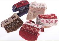 Wholesale 5 pairs New Christmas Wool socks women thermal winter rabbit wool socks female thickening towel cotton socks gift sock box