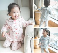 baby pajama patterns - 2015 Autumn Lovely Chidlren Pajama Sets Cotton Lace Collar Cuff Full Pattern Baby Clothing Sets Shirt Pants Two piece Kid Suits CR314
