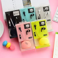 belt cup - Winding Earphone Cartoon Headphone Ear Cup with Belt Winding Box Macarons Colors Small in ear Headset ID19