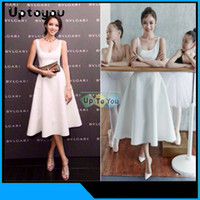 Cheap Lady Cute White A line Jupe Dree Ball Gown Dance Midi Dress Sexy Brief 2015 European XL Pocket Sashes Gowns Clothing for women