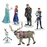 Wholesale Christmas Gift Sets For Kids - 6pcs set Frozen Elsa Anna Hans Kristoff Sven Olaf action Figures Toys Doll Birthday Christmas gift for kids free shipping