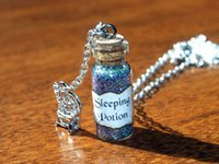 american dry goods - 12pcs Sleeping Potion Necklace with Spinning Wheel Charm Sleeping Beauty Evil Fairy Maleficent Good Fairy Merryweather