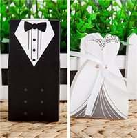 Wholesale Wedding box Hot Candy Box Bride Groom Wedding paper box wedding favors Gift Boxes Gown Tuxedo colorful chooseful DHL free