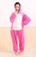 animal footie pajamas - cosplay Pink Blue lilo Stitch Coral Fleece Adult Footie Pajamas Onesie Animal Pyjamas Costume couple Fleece Sleepwear Cute cos ZJ1210