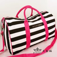 Wholesale Hot Sale Canvas Striped Cylindrical Package Travelling Messenger Bag Women s Hand Bag Gym Sport Duffel Bags