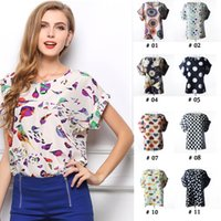 Wholesale Plus Size New Fashion Summer Women Print Chiffon Shirt Vintage Batwing Sleeve Loose T Shirts Tops Casual Blouse Color For Choose