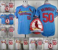 adam wainwright jersey - Adam Wainwright Jersey Cool Base pullover Grey White Blue Retro St Louis Baseball Jerseys