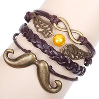 bearded costumes - new Vintage original small Angel Wings costume party jewelry bearded accessories woven bracelet Men Leather Bracelets