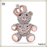 bear wedding invitations - Wedding Invitation Brooch Real Gold Plating Bear Shape Brooch Full Of Zircon With Crown