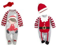 big sant - Free Fedex Ship Christmas infant set Long sleeved Romper jumpsuit hat cute baby rompers boys sant hats girls big flower headband