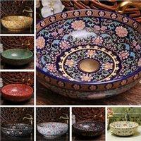 ceramic art basin - Europe Vintage Style Hand Painting Art Porcelain Deep Blue Countertop Basin Sink Handmade Ceramic Bathroom Vessel Sinks Vanities