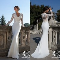 Wholesale 2015 New Glamorous Mermaid Wedding Dresses with Long Sleeves Sweep Train Chiffon Lace Formal Bridal Gowns Evening Prom Gowns EA0249