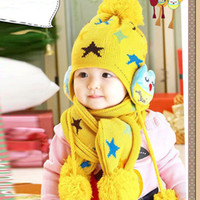 Wholesale Child Baby Kids Beanie Crochet Earflap Hat Scarf Cap pc Five Pointed Star Gift