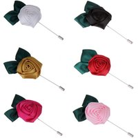 Wholesale New Cloth rose flower leaf brooches for wedding Handmade men s suit boutonniere Long silver lapel pins men jewellery DHL